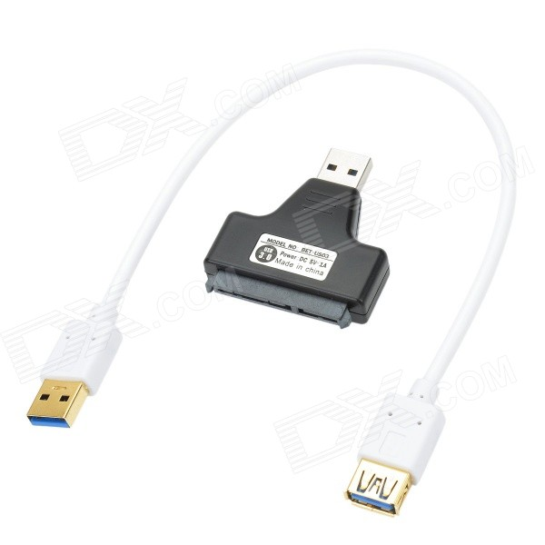 CHEERLINK USB 3.0 Male to SATA Female Adapter + USB 3.0 Data Cable Set - White + Black