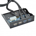 CHEERLINK 19-pin USB3.0 to 2-Port USB3.0 + 9-Pin USB2.0 to 2-Port USB2.0 Front Panel