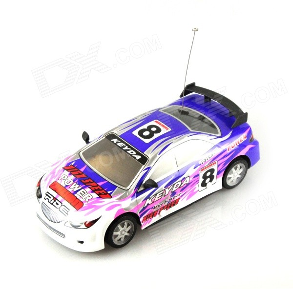 B001-1 1:18 4-CH R/C Sports Car Model Toy w/ Remote Cotroller - Blue + Pink + Multi-colored 9099 20e r c 4 channel ir controlled wall climber vehicle model toy yellow blue black