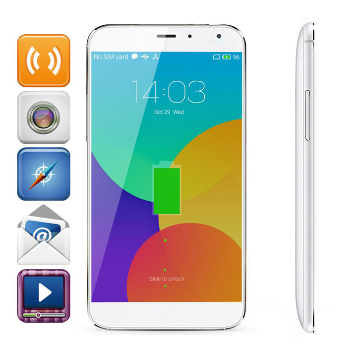 "MEIZU MX4 MT6595 Octa-Core Flyme 4.4 4G Bar Phone w/ 5.36"" IPS, RAM 2GB, ROM16GB - White"