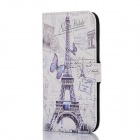 DF-005 Tower Pattern Protective Flip Open Case w/ Card Slot / Stand for HTC One / M8 - Multi-Color