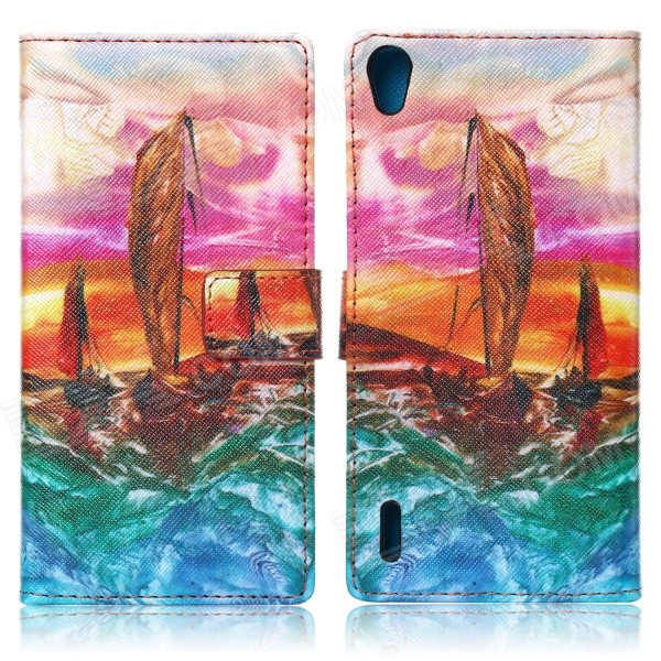 JSM Sailing Boat Pattern Protective Case w/ Card Slot and Holder for Huawei Ascend P7 - Multicolor мозаика elada mosaic jsm jb058 327x327x8 мм шоколадная жатая
