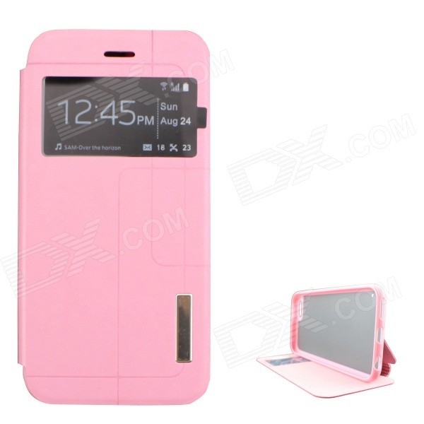 "Ultra-thin PU + TPU Leather Flip-open Case w/ Stand / Display Window for IPHONE 6 4.7"" - Pink"