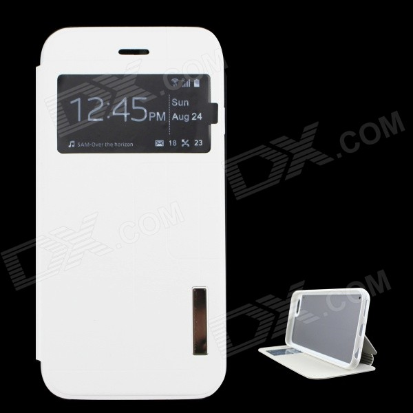 "Ultrathin PU + TPU Leather Flip-open Case w/ Stand for 4.7"" IPHONE 6 - White"