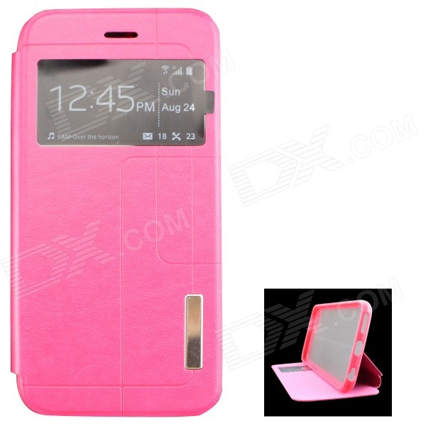 Ultra-thin PU + TPU Leather Flip-open Case w/ Stand / Display Window for IPHONE 6 4.7 - Deep Pink usams ip4sxk04 protective flip open case w display window for iphone 4 4s deep pink