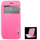 "Ultra-thin PU + TPU Leather Flip-open Case w/ Stand / Display Window for IPHONE 6 4.7"" - Deep Pink"