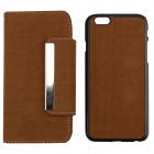 "PU Leather + PC Wallet Style Flip Open Case w/ Card Slots for 4.7"" IPHONE 6 - Light Brown"