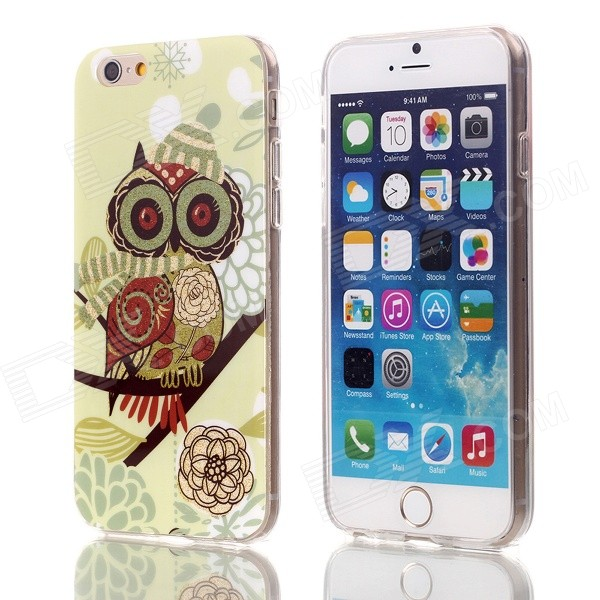 "Gold Shimmering Peony Owl Pattern Protective TPU Back Case for 4.7"" IPHONE 6"