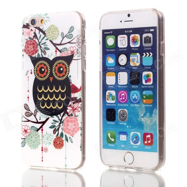 Shimmering Black Owl Pattern Protective TPU Back Case for 4.7 IPHONE 6 tpu material protective back case cover owl pattern for iphone 5c