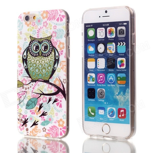 Shimmering Black Wings Owl Pattern Protective TPU Back Case for 4.7 IPHONE 6 - White + Multicolor retro radio style pattern protective tpu back case for iphone 6 4 7 black grey