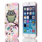 "Shimmering Black Wings Owl Pattern Protective TPU Back Case for 4.7"" IPHONE 6 - White + Multicolor"