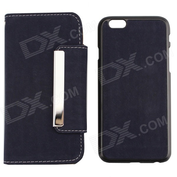 PU Leather + PC Wallet Style Flip Open Case w/ Card Slots for 4.7 IPHONE 6 - Deep Blue high quality flip open pu pc case w card slots for 5 5 iphone 6 plus deep blue