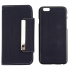 "PU Leather + PC Wallet Style Flip Open Case w/ Card Slots for 4.7"" IPHONE 6 - Deep Blue"