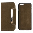 "PU Leather + PC Wallet Style Flip Open Case Card Slots for 4.7"" IPHONE 6 - Army Green"