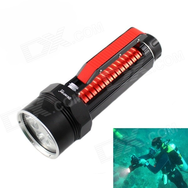 KINFIRE 1800lm White Dimming Diving Flashlight w/ 4 x CREE XM-L2 U2 - Black + Red (2 x 26650) newest underwater scuba diving light 14000 lumen led torch cree 7 x xm l2 waterproof flashlight light for dive 26650 lanterna