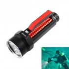 KINFIRE 1800lm White Dimming Diving Flashlight w/ 4 x CREE XM-L2 U2 - Black + Red  (2 x 26650)