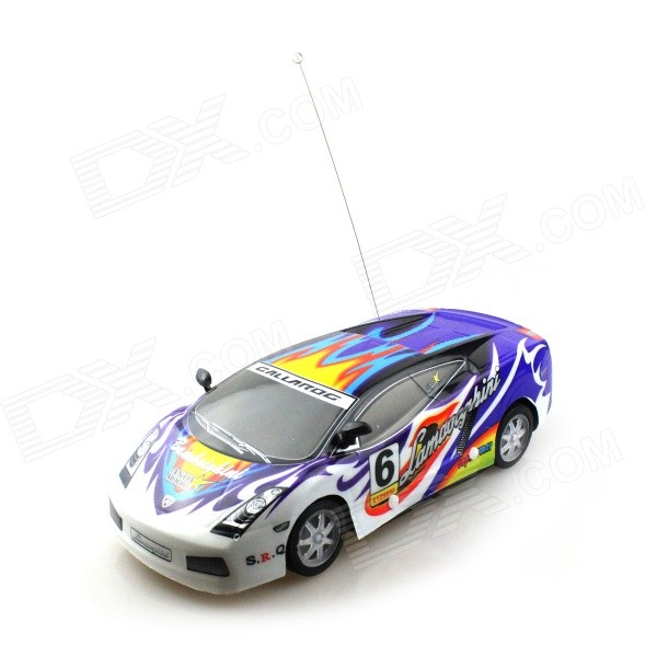 B001-4 1:18 4-CH R/C Sports Car Model Toy w/ Remote Cotroller - Blue + White + Multi-colored 9099 20e r c 4 channel ir controlled wall climber vehicle model toy yellow blue black