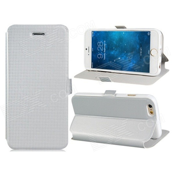 "Pandaoo Stylish Protective Flip Open PC Case w/ Stand / Card Slots for IPHONE 6 4.7"" - White"