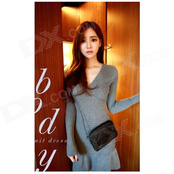 ET-04 Women's Sexy V-Neck Long-sleeved Knitted Cotton Skirt - Grey