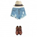 Stylish Retro High-waisted Denim Jeans Shorts - Light Blue (S)
