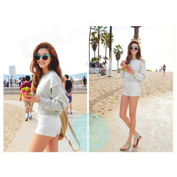 ST-24 Stylish High-waisted Shorts Pants - White (L) - DXDresses<br>3D cutting reveals your perfect hip shape; short length shows your long legs; comfortable to wear.<br>