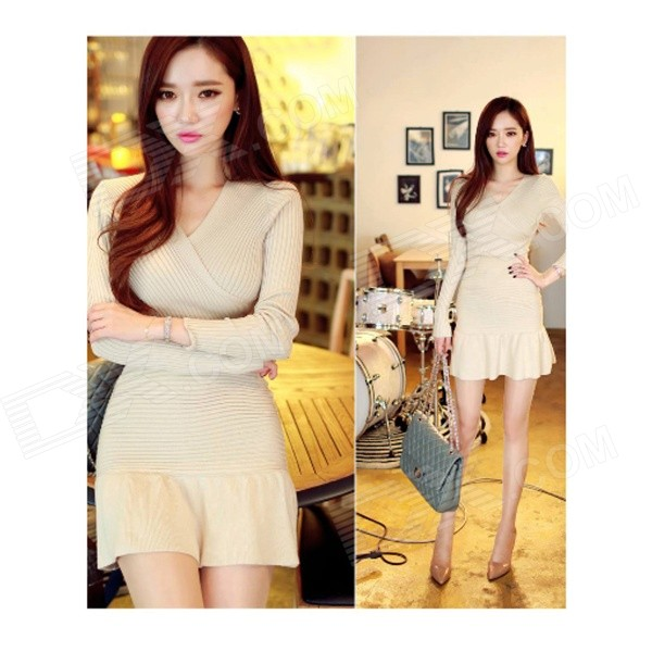ET-04 Women's Sexy V-Neck Long-sleeved Flare Hem Knitted Cotton Shinny Dress - Beige