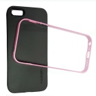Bumblebee Slim Border Protective TPU + PC Back Case for IPHONE 5 / 5S - Black + Deep Pink