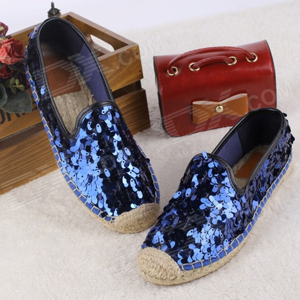 Fashionable Seed Paillette Hemp Rope Flat Shoes - Blue (Pair / 36)