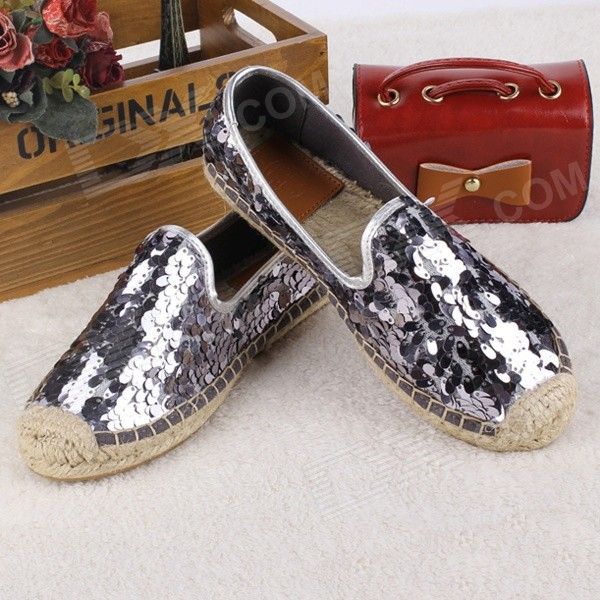 Fashionable Seed Paillette Hemp Rope Flats Shoes - Silver (Pair / 37)