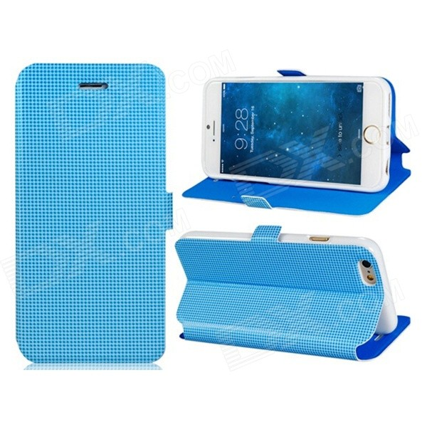 Pandaoo Stylish Protective Flip Open PC Case w/ Stand / Card Slots for IPHONE 6 4.7 - Blue pandaoo leather flip case w stand