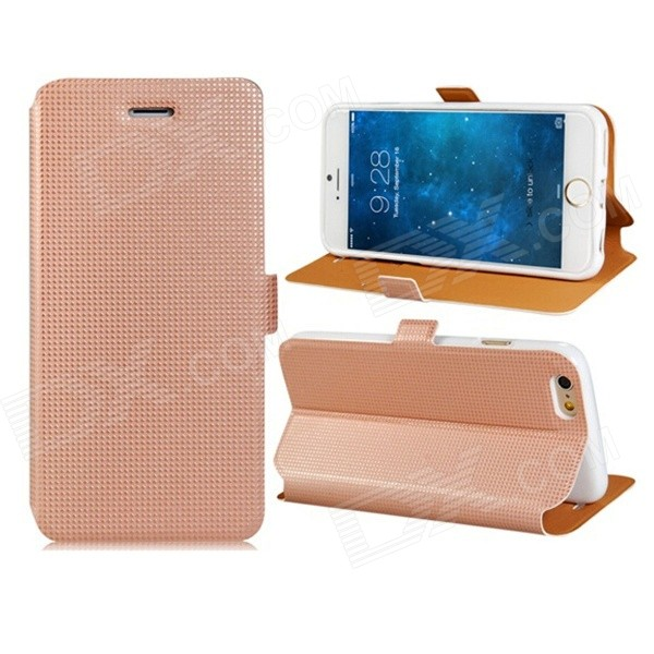Pandaoo Stylish Protective Flip Open PC Case w/ Stand / Card Slots for IPHONE 6 4.7 - Pink pandaoo leather flip case w stand