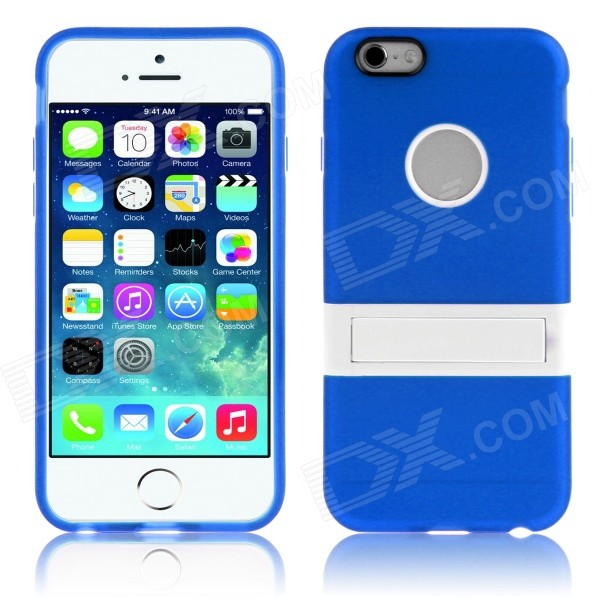 ENKAY Protective TPU + Plastic Back Case Cover w/ Stand for 5.5 IPHONE 6 Plus - Dark Blue iface mall glossy pc non slip tpu back case for iphone 6 plus 6s plus blue