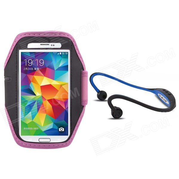 NEJE AK01 Running Water Resistant Armband Case w/ Hands-free Stereo Headset for Samsung S3 / S4 / S5 the sharper image all in one hands free armband pet leash