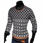 Men's Fashionable Diamond Plaid Pattern Casual Sweater - Black + White (L)