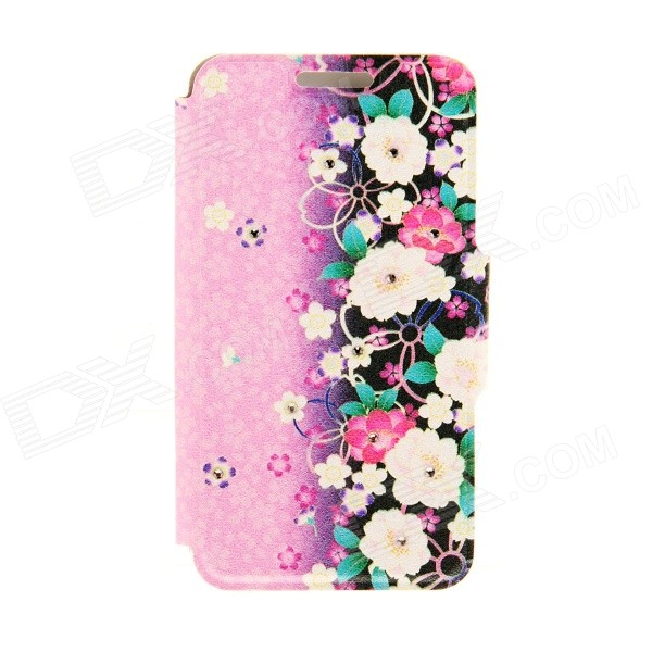 Kinston Blossom Patterned PU + Plastic Protective Case w/ Stand + Card Slot for 4.7 IPHONE 6 - Pink kinston kst91867 plum blossom w rhinestones pattern pu case w stand for iphone 6 white pink