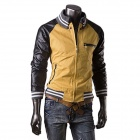 Casual Mode Couture PU Leather Jacket Coat Men - Jaune + Noir (L)