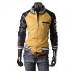 Men's Casual Fashionable Stitching PU Leather Jacket Coat - Yellow + Black (XL)