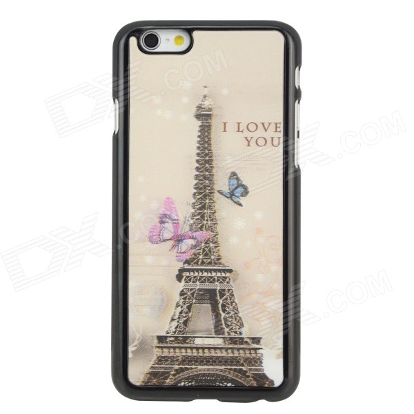 SMKJ Eiffel Tower Protective Flip Open Plastic Case for 4.7 IPHONE 6 - Black + Pink + Multi-Color smkj protective plastic silicone back case w stand for iphone 6 4 7 black