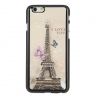 "SMKJ Eiffel Tower Protective Flip Open Plastic Case for 4.7"" IPHONE 6 - Black + Pink + Multi-Color"