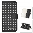 "DULISIMAI Polka Dot Pattern Protective PU + PC Case w/ Stand for IPHONE 6 4.7"" - Black + White"