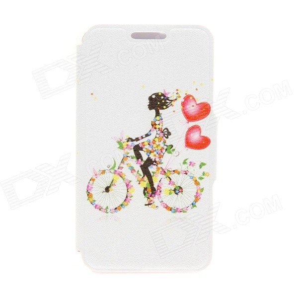 Kinston Bike & Girl Pattern PU Leather + Plastic Flip Open Case w/ Stand for IPHONE 6 4.7 - Black kinston music girl pattern pu plastic flip open case w stand card slot for iphone 6 plus