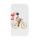"Kinston Bike & Girl Pattern PU Leather + Plastic Flip Open Case w/ Stand for IPHONE 6 4.7"" - Black"