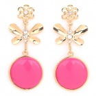 Women's Fashionable Bowknot Shaped Earrings - Golden + Deep Pink (Pair)
