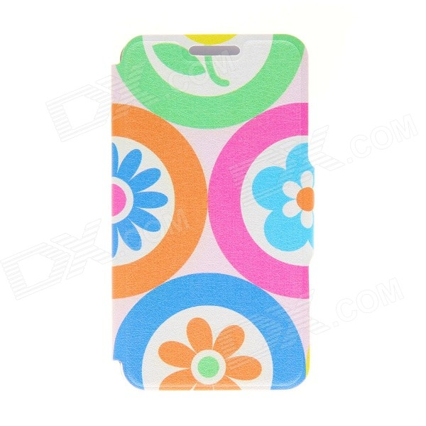 "Kinston KST91692 Cartoon Flowers Pattern PU Leather Full Body Case w/ Stand for 4.7"" IPHONE 6 - Blue"