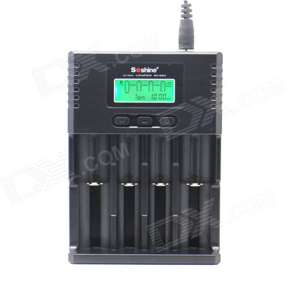 Soshine H4 1.5 LCD 4-Slot Universal Charger for Li-ion / LiFePO4 / 26650 / 18650 / AA / AAA - Black 73v 5a 20s lifepo4 battery charger 60v 5a charger for lifepo4 battery