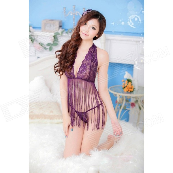 Women's Sexy Lace Tassel Underwear w/ Thong - Purple