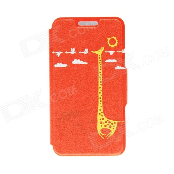 Kinston Happy Giraffe Pattern PU Leather Full Body Case with Stand for IPHONE 6 4.7 inch for iphone 6s 6 4 7 inch leopard pattern wallet leather cover with stand beige