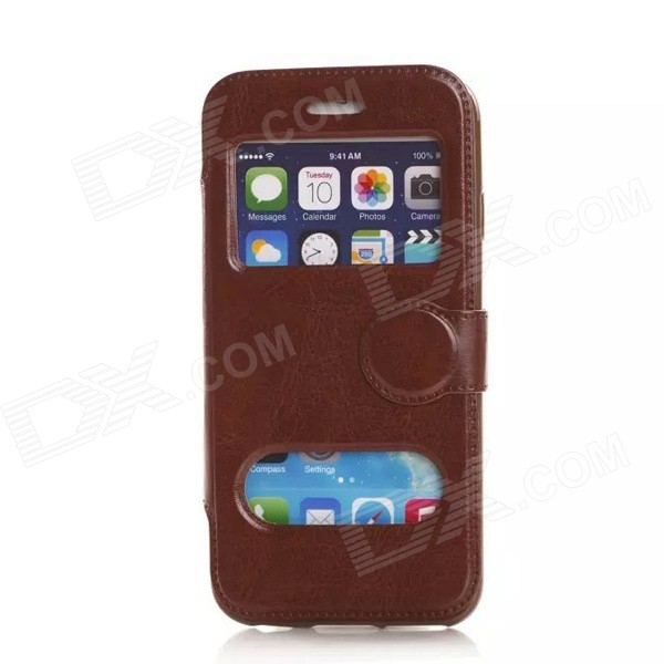 Flip-open PU Leather Case w/ Window + Holder for IPHONE 6 4.7 - Brown чехол deppa art case и защитная пленка для samsung galaxy s6 патриот крым ваш