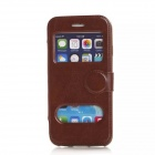 "Flip-open PU Leather Case w/ Window + Holder for IPHONE 6 4.7"" - Brown"