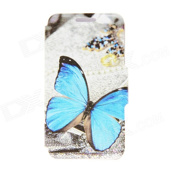 Kinston KST91713 Butterfly Pattern Leather Case w/ Stand for 4.7 IPHONE 6 - Multicolored + Blue butterfly bling diamond case
